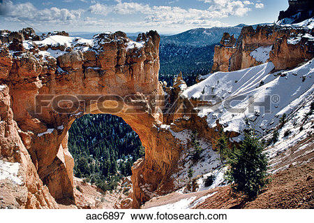 Picture of Snow on Rock Bridge in Bryce Canyon, Utah. USA. aac6897.
