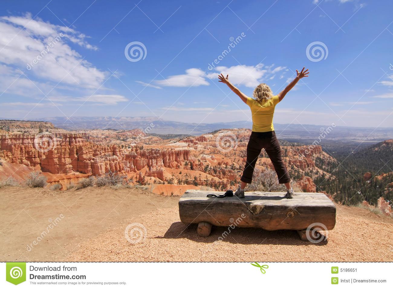 Girl Enjoy Landscape In Bryce Canyon National Park Stock Image.