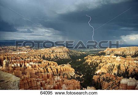 Stock Image of Lightning strikes over landscape, Bryce Canyon.