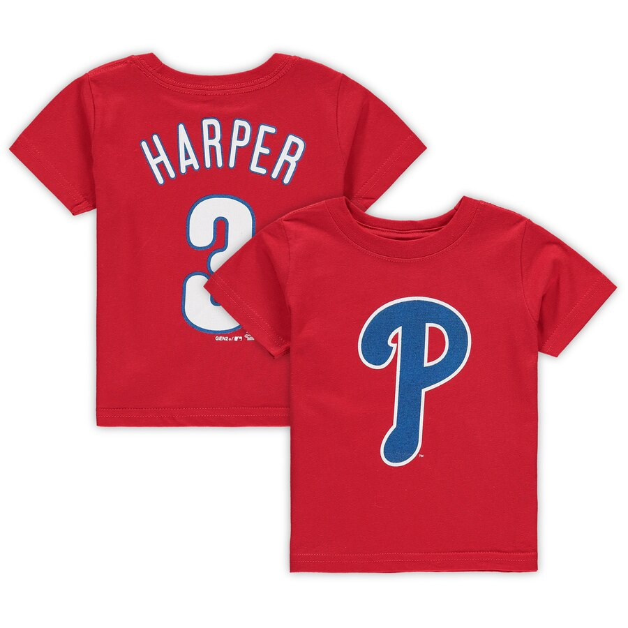 Infant Philadelphia Phillies Bryce Harper Majestic Red Player Cap Logo Name  & Number T.