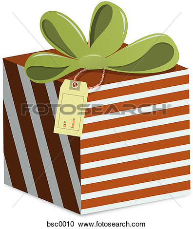 Stock Illustrations of A striped gift box with a To and From tag.