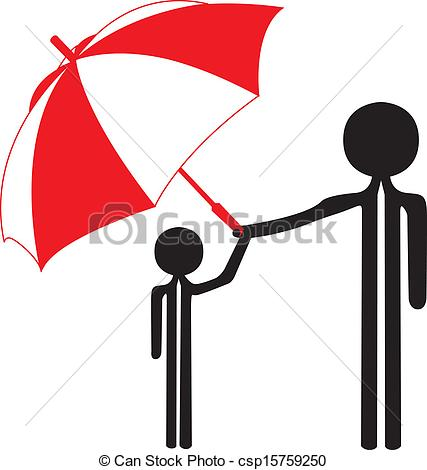 Clipart Vector of father protect sun with umbrella csp15759250.