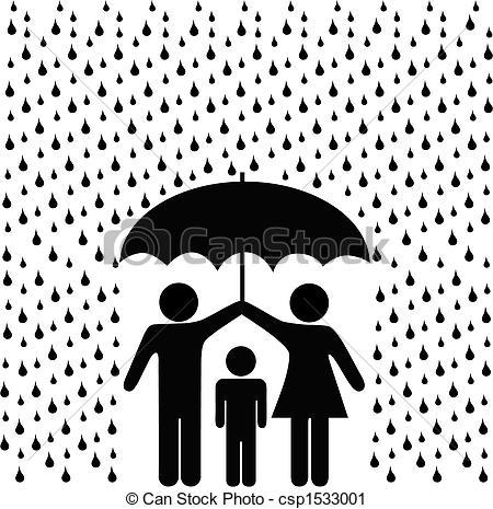 Vektor Clip Art von eltern, schützen, schirm, Regen, kind.