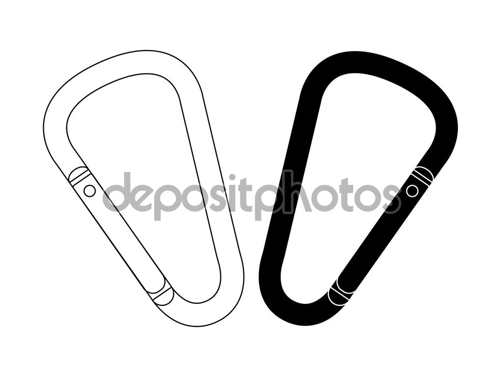 Set of climbing carabiners — Stock Vector © bsd #75623799.