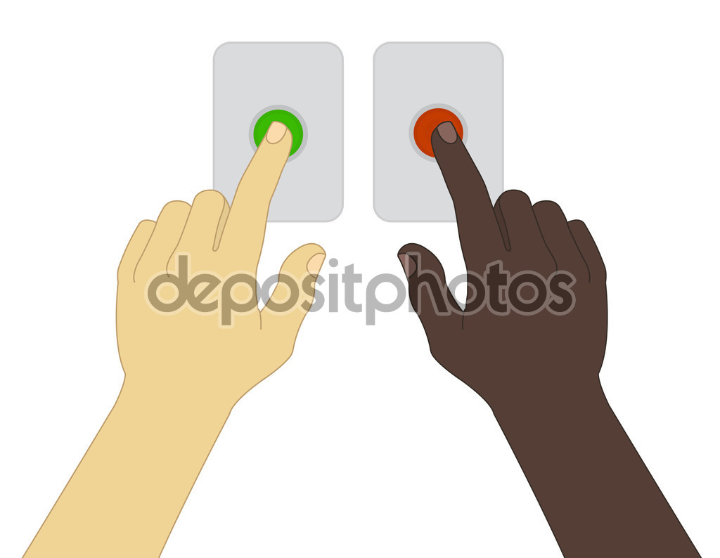 Hands pressing green and red buttons — Stock Vector © bsd #75625457.