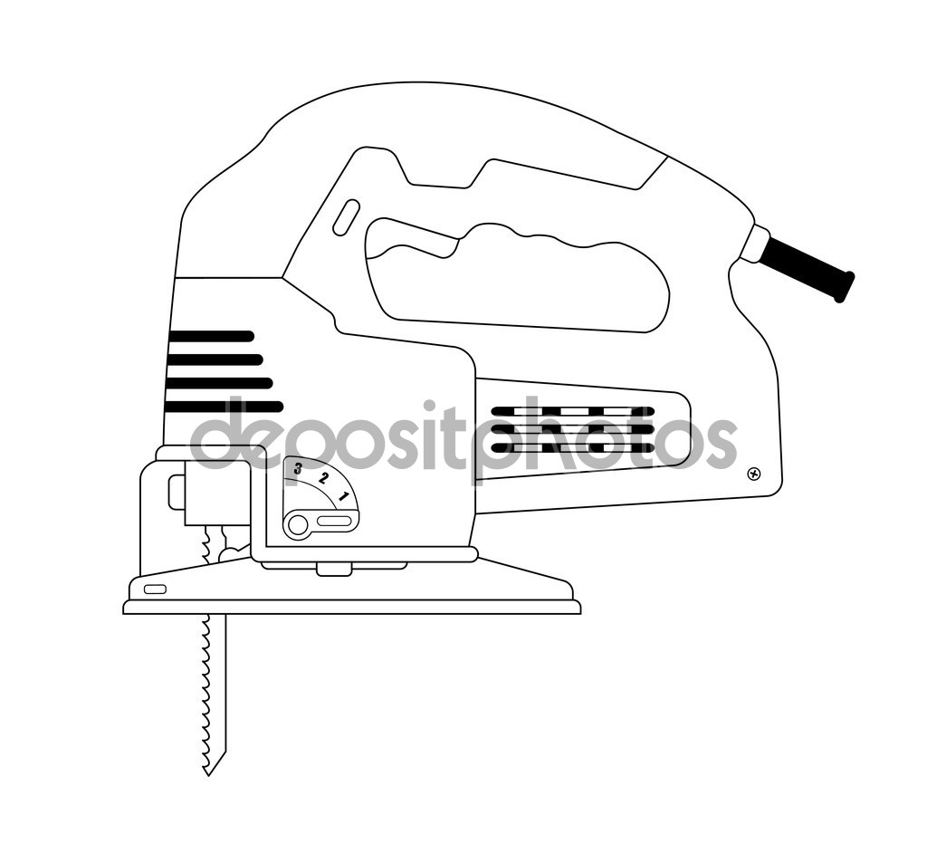 Electric carpentry jig saw tool — Stock Vector © bsd #75625611.