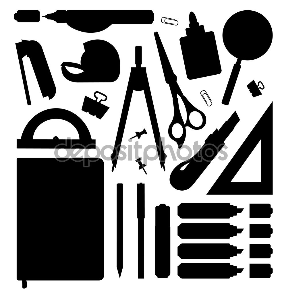 Stationery tools silhouettes set — Stock Vector © bsd #75627547.