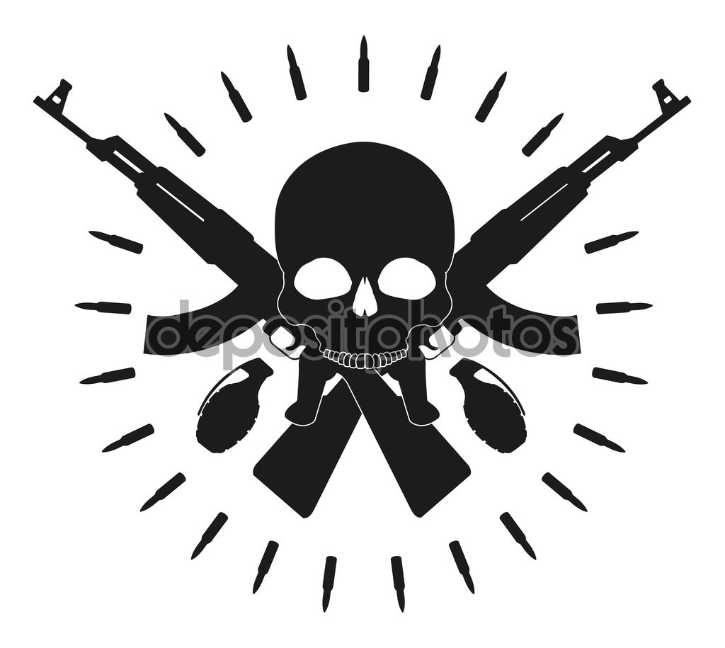 Skull two grenades two crossed assault rifles — Stock Vector © bsd.