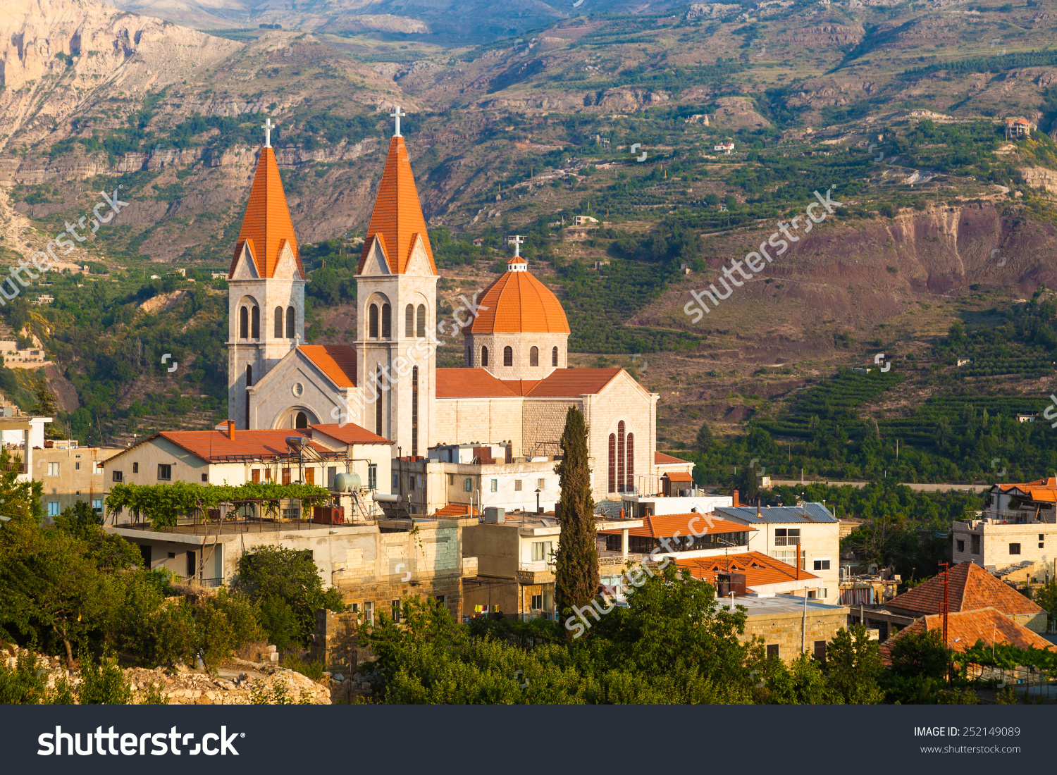 Beautiful Church Bsharri City Lebanon Beautiful Stock Photo.