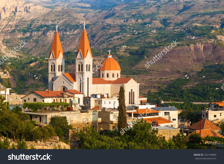 Beautiful Church Bsharri City Lebanon Beautiful Stock Photo.