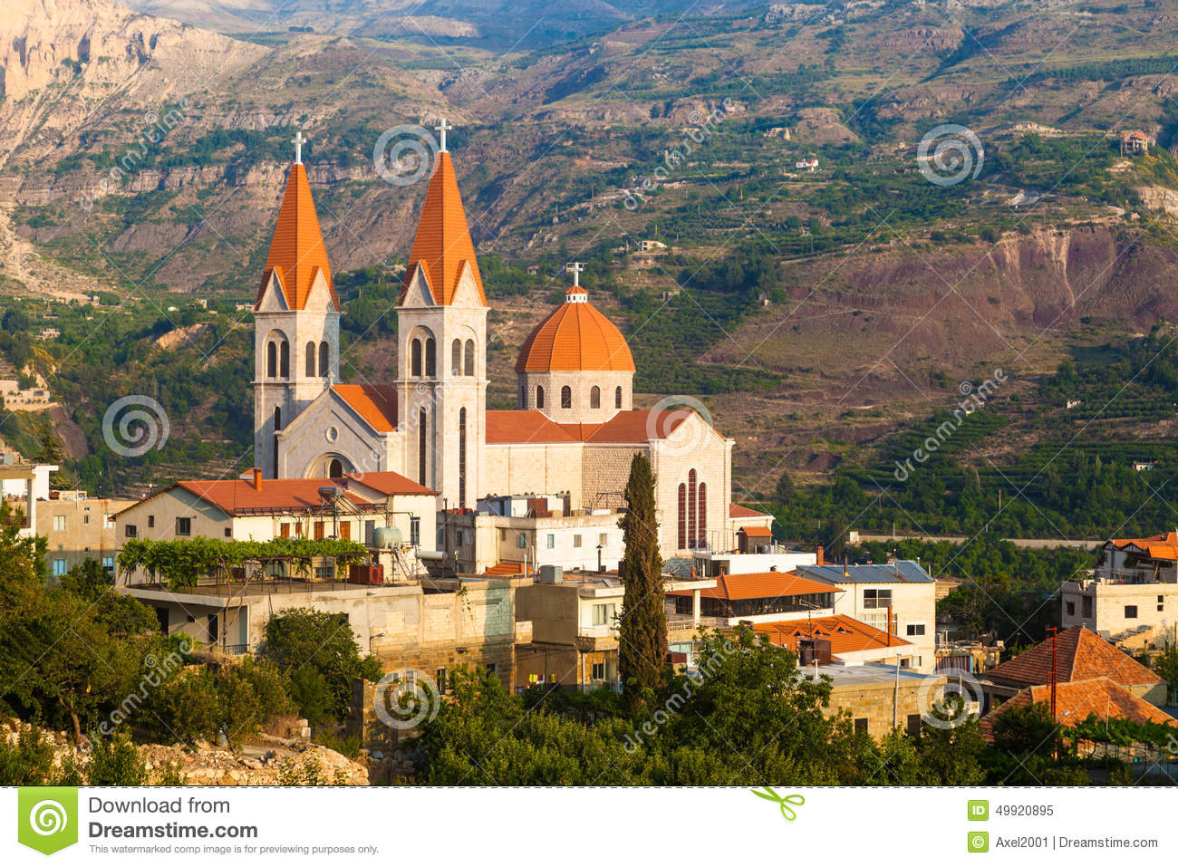 Beautiful Church In Bsharri, Qadisha Valley In Lebanon Stock Photo.