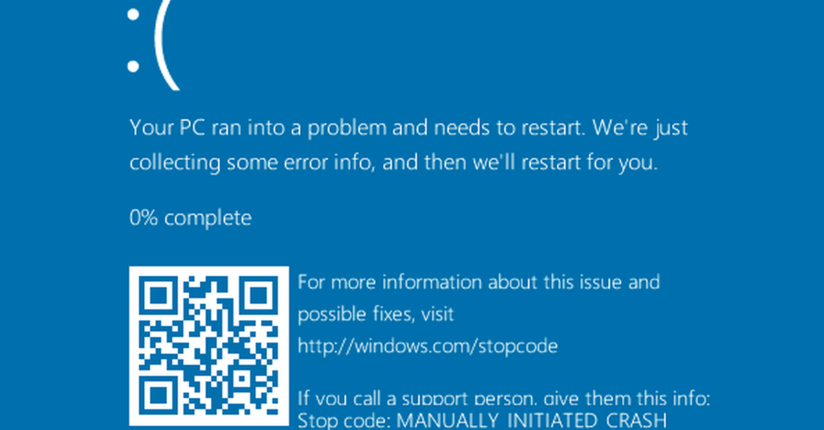 Microsoft adds QR codes to the Blue Screen of Death.