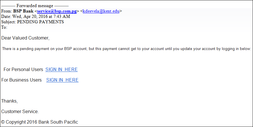 BSP warns of phishing attacks on internet banking.