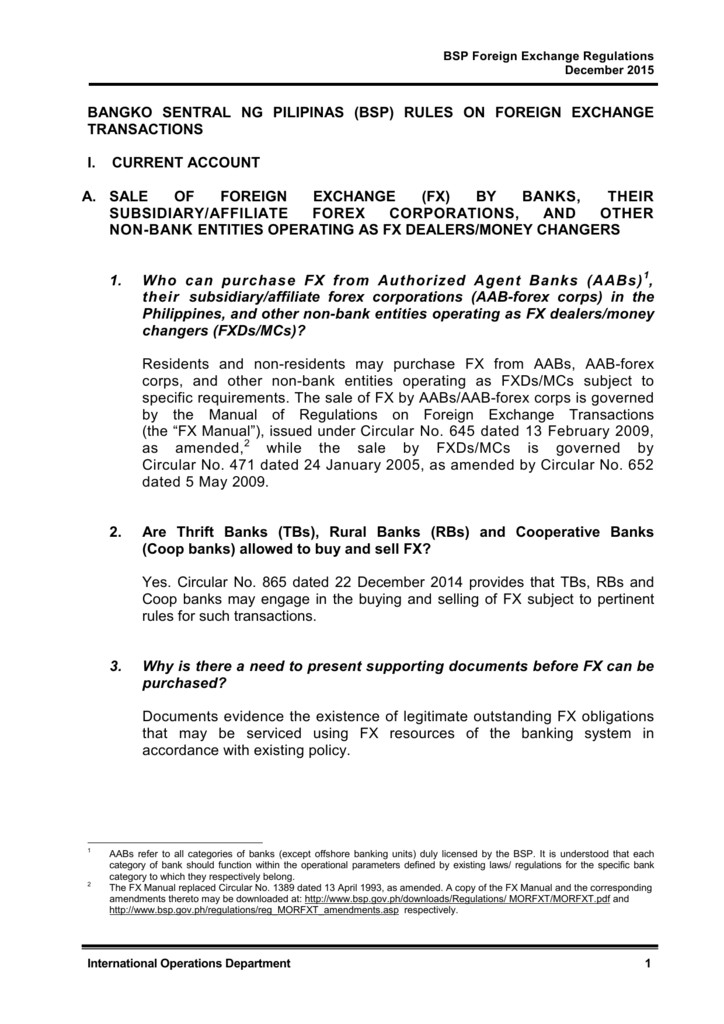 BSP Foreign Exchange Regulations.