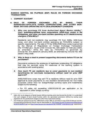 Fillable Online bsp gov BSP Foreign Exchange Regulations.