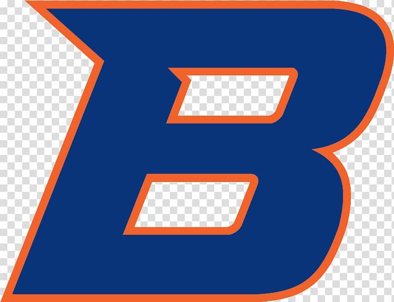 Orange and blue B logo illustration, Boise State University.