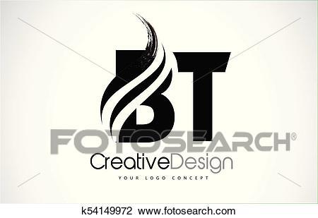 BT B T Creative Brush Black Letters Design With Swoosh.
