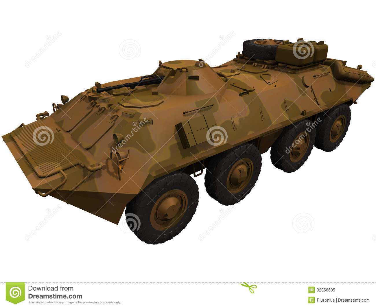 3d Rendering Of A Soviet BTR 70 Royalty Free Stock Photo.
