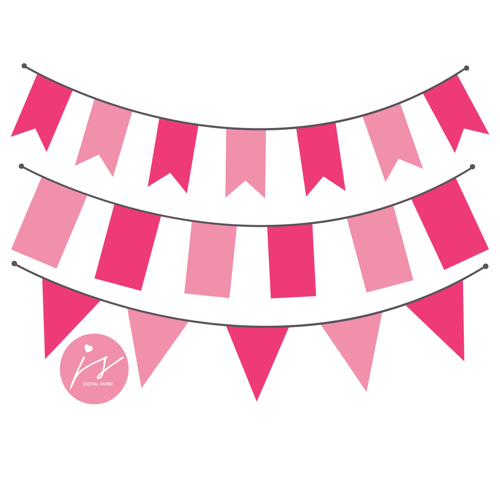 Hot Pink and Baby Pink Bunting Banner Flag Clipart, BU.