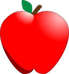 gambar clipart buah apel bentuk hati.