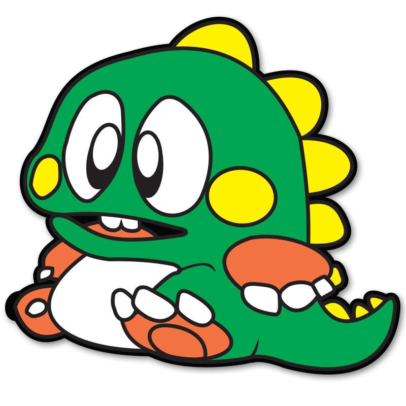 Bubble Bobble Green Bub Sticker.