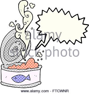 Freehand Drawn Speech Bubble Cartoon Canned Meat Stock Vector Art.