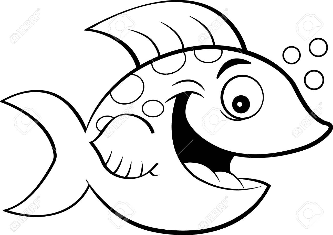 Black and white illustration of a smiling fish blowing bubbles..