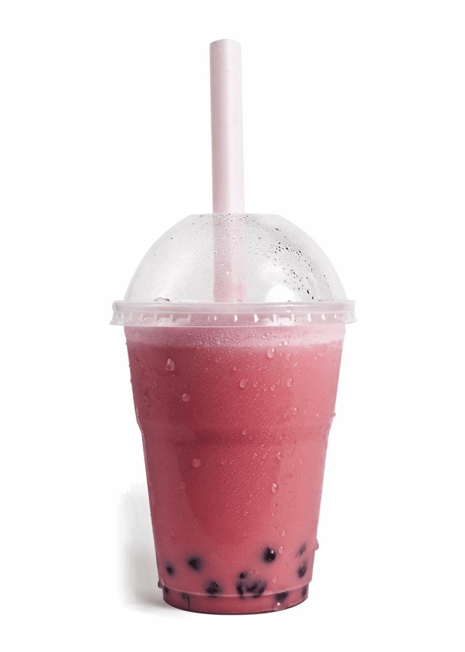 Hippo Bubble Tea Chilled Pink Strawberry Bubble Tea.