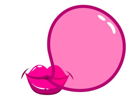 Lips Blowing A Bubblegum Bubble.