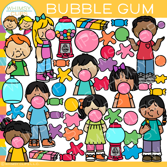 Kids and Bubble Gum Clip Art.