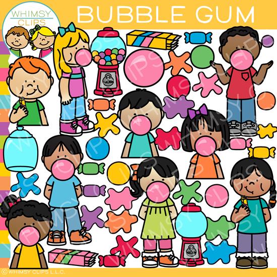 Kids and Bubble Gum Clip Art.