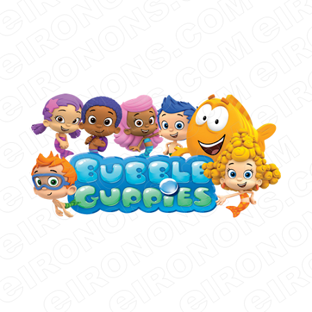 BUBBLE GUPPIES DIGITAL GROUP POSE ON LOGO CLIPART PNG IMAGE SCRAPBOOK  INSTANT DOWNLOAD.
