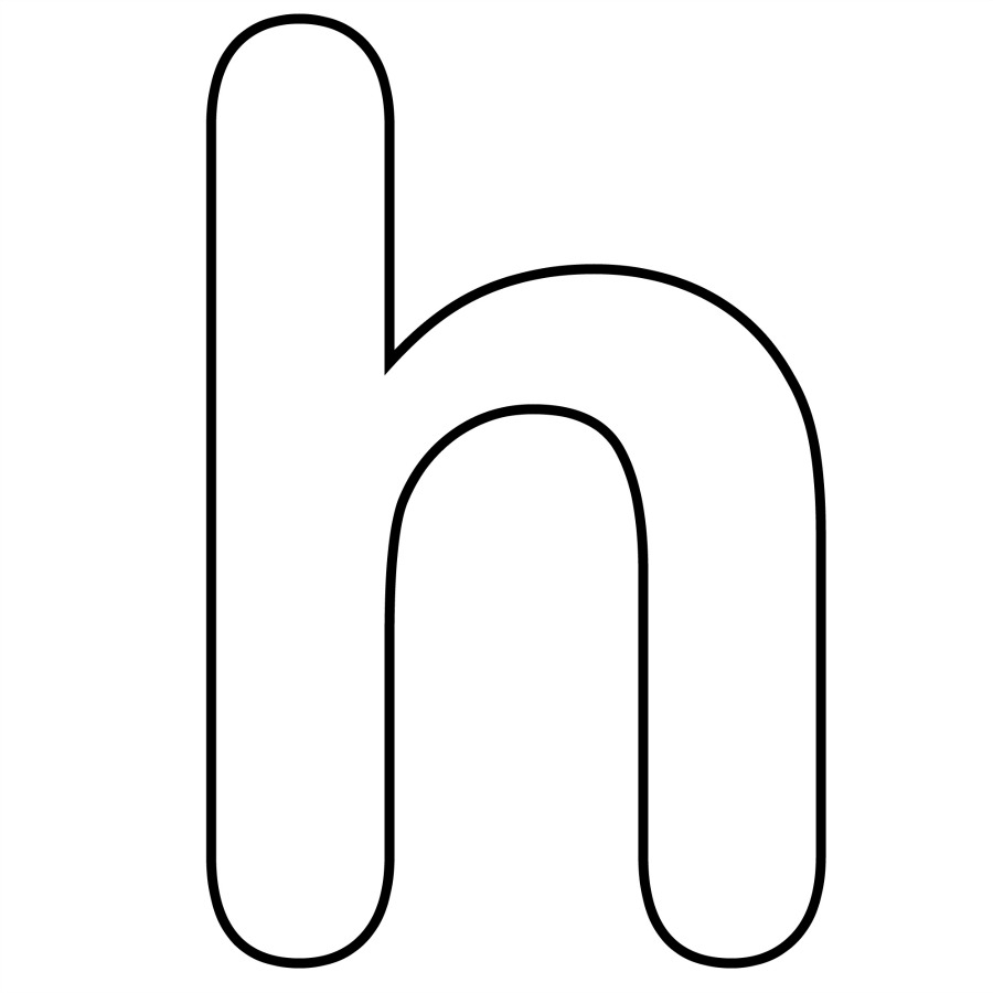 Letter H In Black And White Clipart.