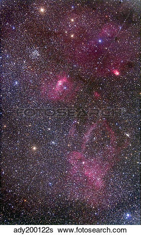 Stock Images of Nebulosity around the open cluster Messier 52.