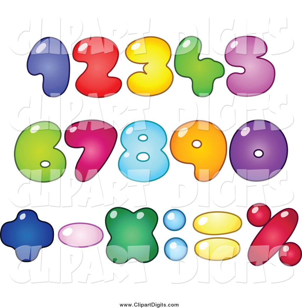 Vector Clip Art of a Colorful Fat Bubble Cartoon Numbers by.