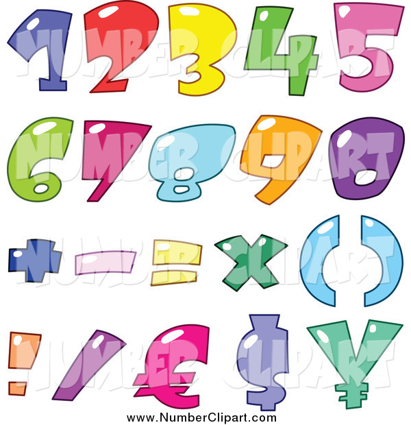 Clip Art of Bubble Numbers and Currency Symbols by yayayoyo.
