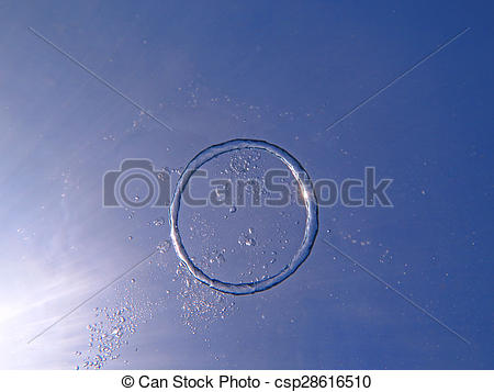Stock Photography of Bubble ring from the air rises upwards the.