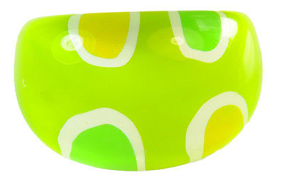 60's INSPIRED LIME GREEN PLASTIC BUBBLE RING SEMI CIRCLE DETAILING.