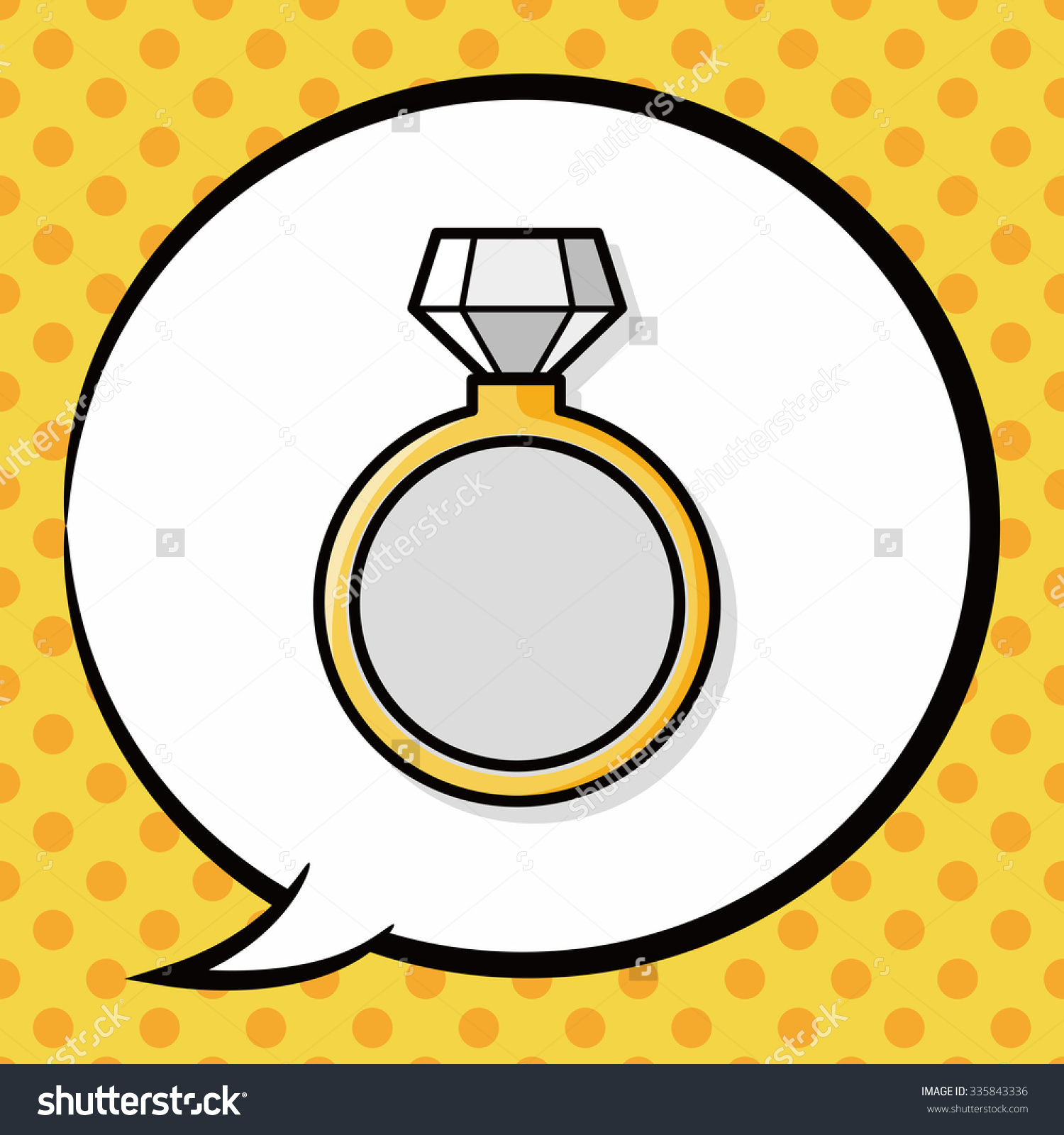 Diamond Ring Doodle, Speech Bubble Stock Vector Illustration.