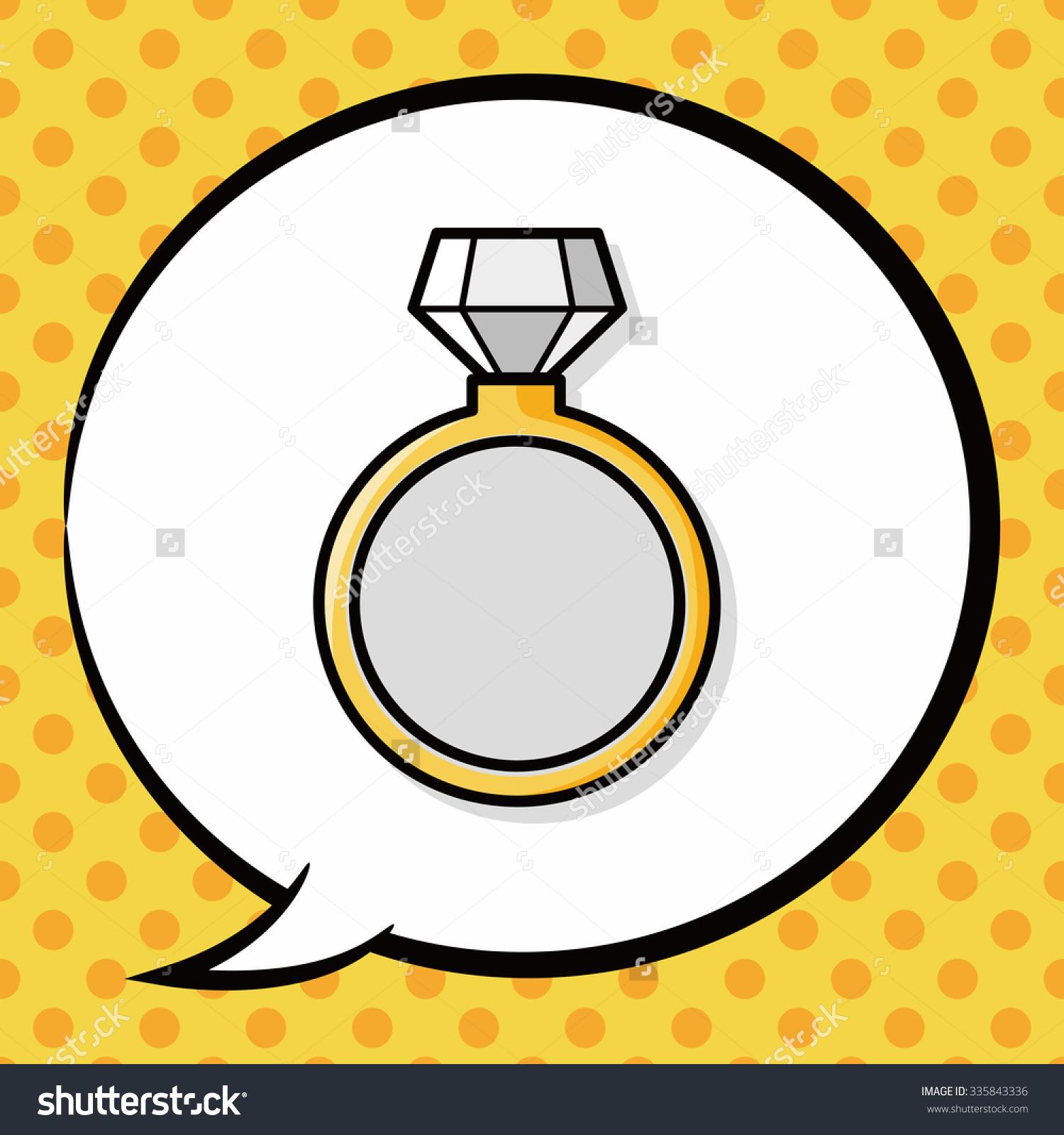 Diamond Ring Doodle, Speech Bubble Stock Vector Illustration.