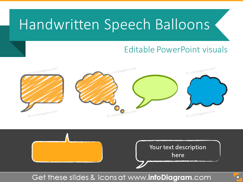 HandWritten Speech Balloons Bubbles shapes Sketched PowerPoint Clipart.
