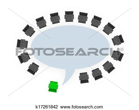 Clip Art of Office Chairs around Speech Bubble Table k17261842.