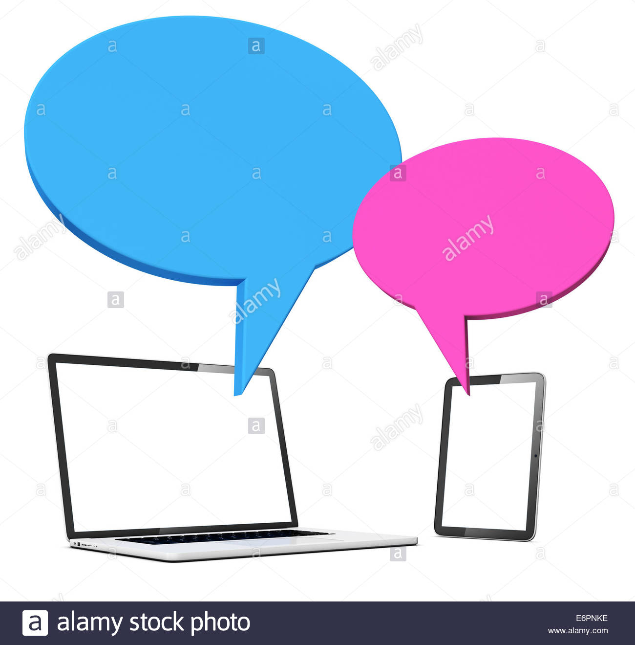 Speech Bubble With Laptop And Table Stock Photo, Royalty Free.