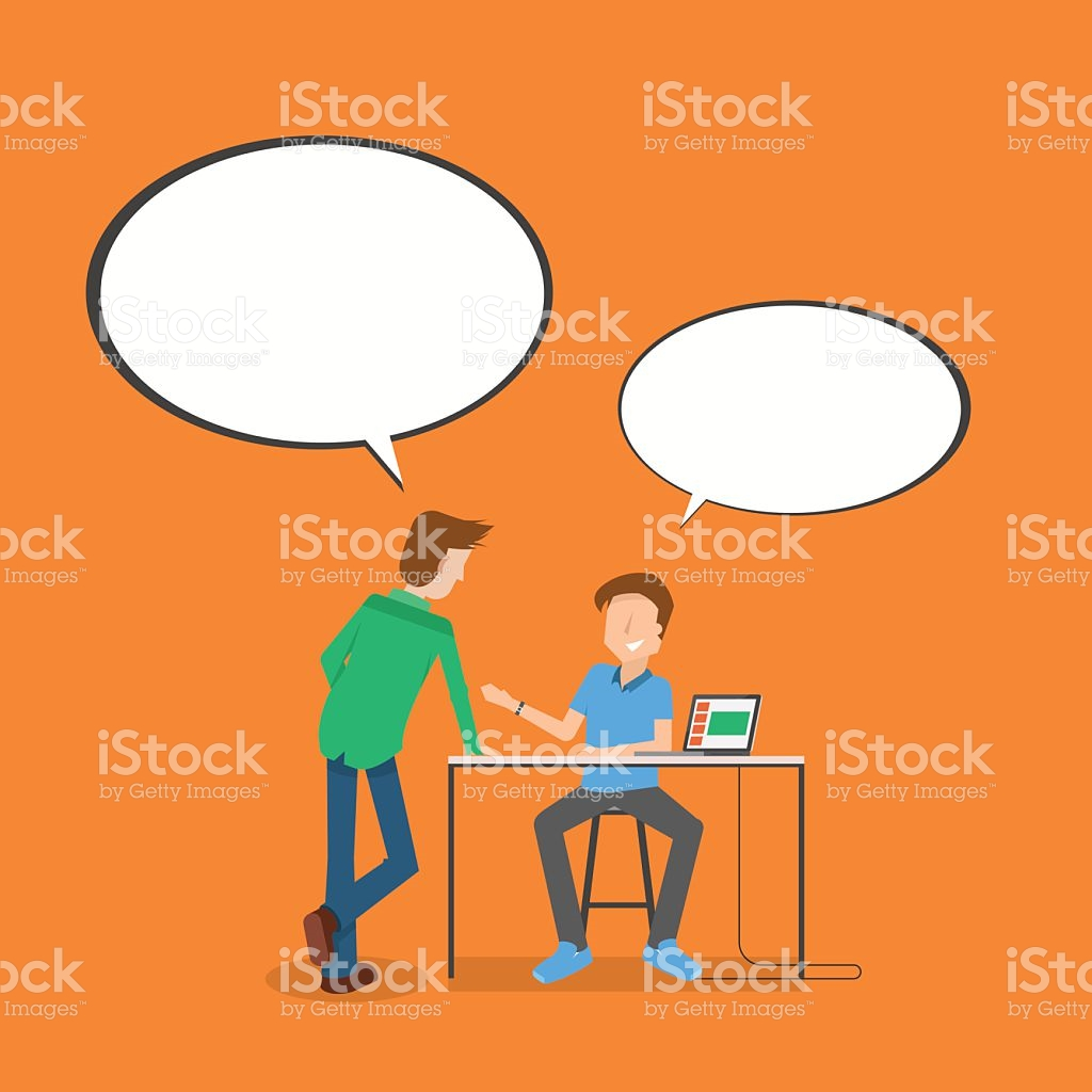 Meeting Presenting On The Table With Speech Bubble stock vector.