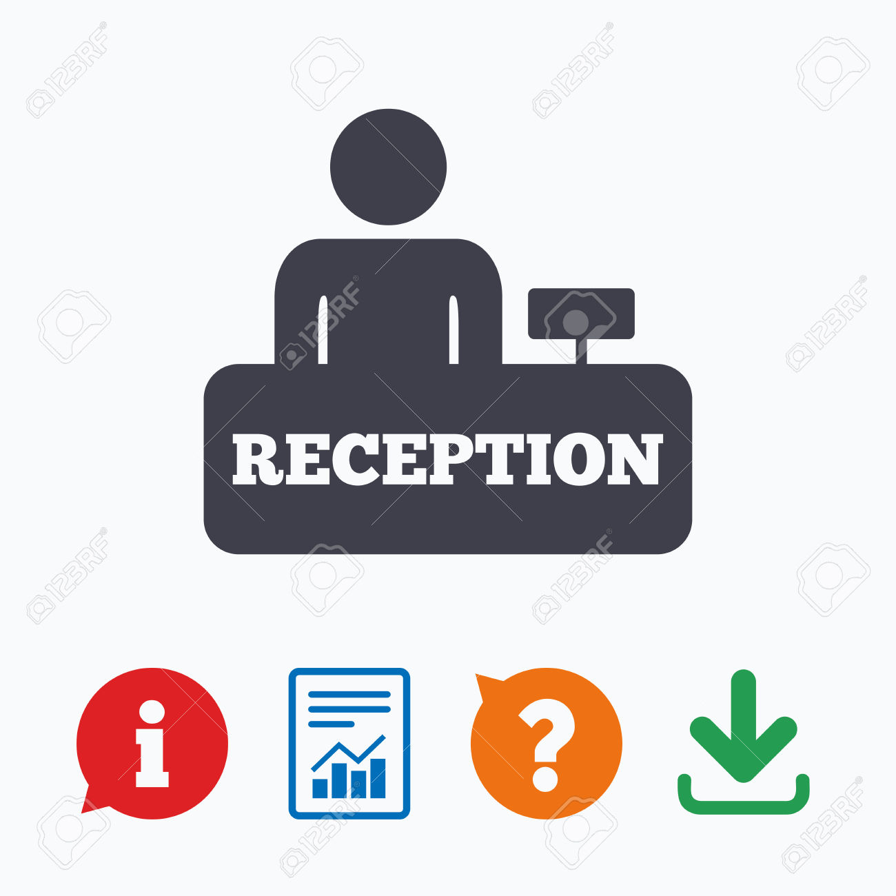 Reception Sign Icon. Hotel Registration Table With Administrator.