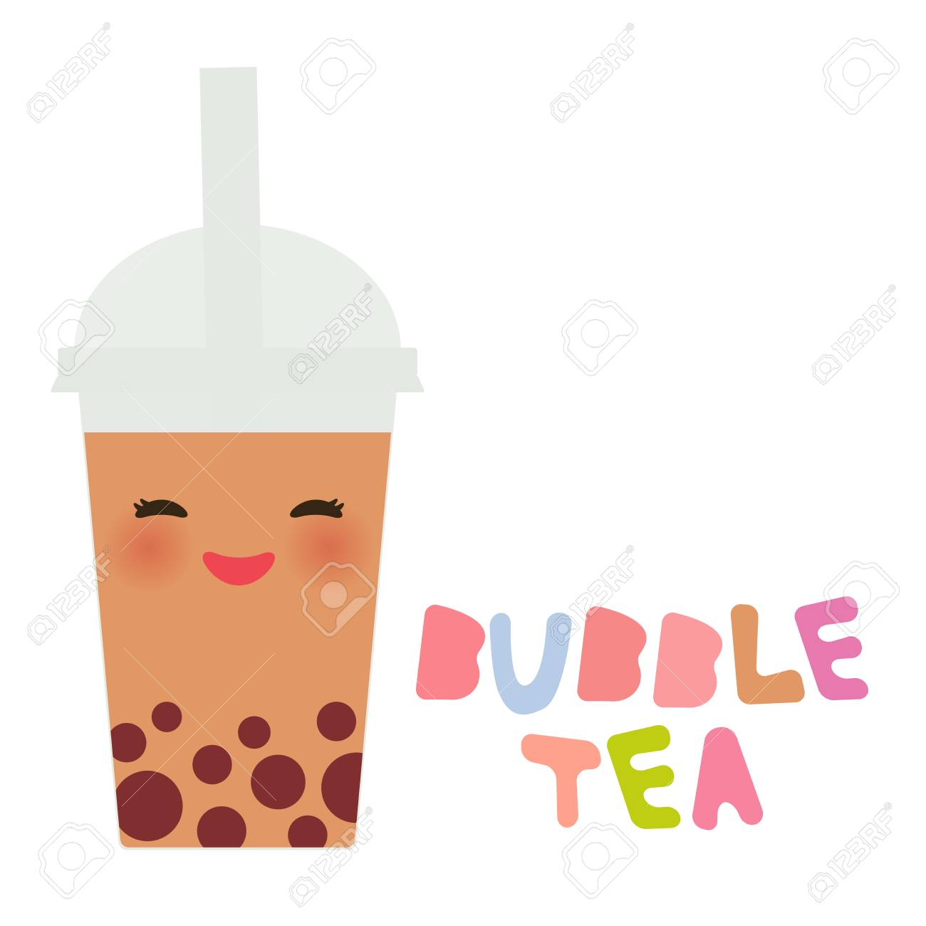Cute Bubble Tea with fruits and berries. Milk Cocktails in plastic...