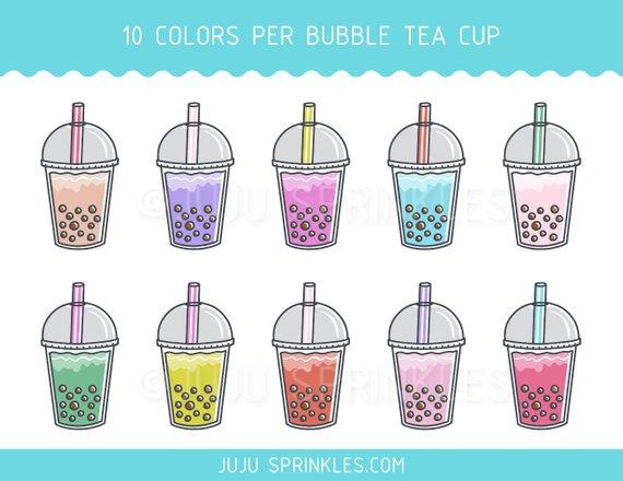 Bubble Tea Clipart, Boba Tea Clipart, Bubble Tea Planner Sticker.