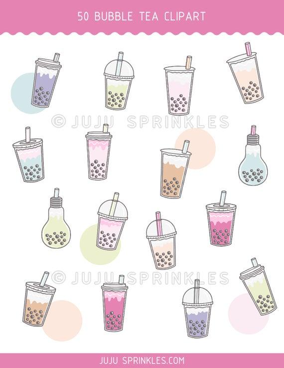 Bubble Tea Clipart, Boba Tea Clipart, Bubble Tea Planner Sticker, Milk Tea  Clipart, Tapioca Milk Tea, PNG, Instant Download, Matcha Latte.