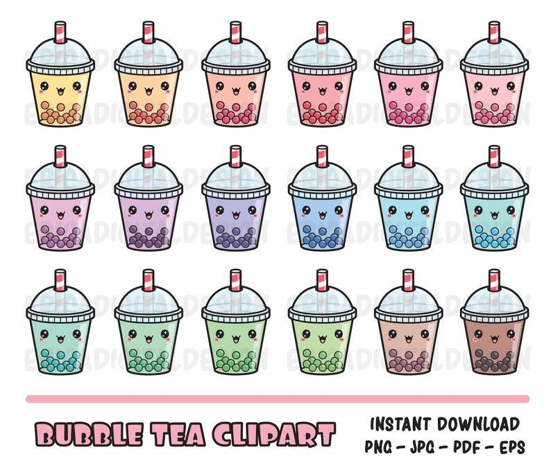 Bubble tea kawaii clipart set Cute Bubble tea clip art Boba tea cliparts  Printable planner stickers Funny vector graphics Instant download.
