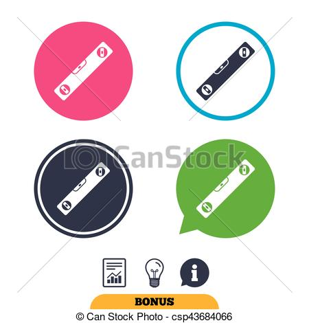 Clip Art Vector of Bubble level sign icon. Spirit tool symbol.